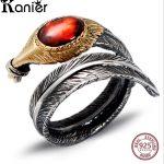 FANSER Antique Thai <b>silver</b> Ring Opening Solid 100% S925 Pure <b>Silver</b> garnet agate Women Fine <b>Jewelry</b> Classic