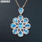 Natural Genuine Blue Topaz Gem Stone Necklace Pendant Chain Real 925 <b>Sterling</b> <b>Silver</b> Women Fine <b>Jewelry</b>
