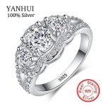90% OFF!!! YANHUI 100% Solid 925 <b>Sterling</b> <b>Silver</b> Rings Set Sona CZ Diamant Engagement Wedding Ring <b>Silver</b> <b>Jewelry</b> for Women R173