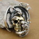 925 Sterling <b>Silver</b> Huge Heavy Wing Dragon On Skull Mens Pendant 8B006(<b>Necklace</b> 24inch)