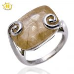 Hutang Stone <b>Jewelry</b> Natural Gemstone Rutilated Quartz Ring Solid 925 Sterling <b>Silver</b> Fine Fashion <b>Jewelry</b> Women's Gift New