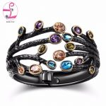 ZHE FAN Women Big Vintage Open Cuff Bangle Bracelet AAA Cubic Zirconia Black Gold Color Plated Branches Wide <b>Jewelry</b> Gift