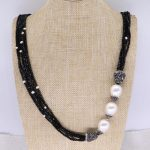 Wholesale Black crystal beaded long necklace with shell pearl bead necklace Bohemia <b>jewelry</b> necklace <b>handmade</b> <b>jewelry</b> 3960