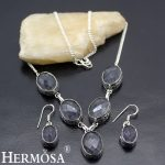 Precious Stones <b>Jewelry</b> Sets 925 Sterling Silver Earrings <b>Necklace</b> Amethystt Set For Women BG-50 Handcrafted Vintage Oval Design