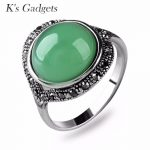 Light Green Stone Rings For Women <b>Antique</b> Silver color Black Crystal Rhinestone Anillos Natural Stone Rings <b>Jewelry</b>