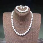 Sinya DIY Wear Natural Round Freshwater Pearl Strand Necklace Bracelet <b>Earring</b> Set 925 sterling <b>silver</b> clasp for Mum women lover