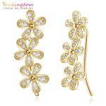 Yunkingdom Charms Yellow Gold Color Earring 925 Sterling Silver Flowers Crystal Earrings for Women <b>Wedding</b> <b>Jewelry</b> K5425
