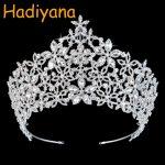 Hadiyana Luxury Sparkling Zirconia Rhinestones Flower Crown <b>Wedding</b> Diadem Tiaras Princess Crowns Pageant Party <b>Jewelry</b> BC3218