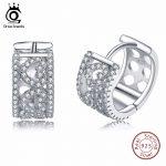 ORSA JEWELS <b>Fashion</b> Women <b>Jewelry</b> 925 Sterling Silver Earring Small Hollow Hoop Earrings with Heart Shape Cubic Zirconia SE21