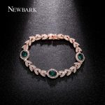 NEWBARK Vintage Rose Gold Color Green Crystal Bracelet For Women Paved Cubic Zirconia Ladies <b>Wedding</b> Earrings Fashion <b>Jewelry</b>
