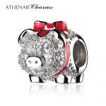 ATHENAIE 925 Sterling <b>Silver</b> Red Enamel Bow Piggy Bank with Clear CZ Beads Fit Charms <b>Bracelets</b> DIY Jewelry