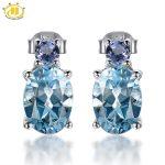 Hutang Trendy Natural Blue Topaz & Tanzanite Stud Earrings Solid 925 <b>Sterling</b> <b>Silver</b> Gemstone Fine <b>Jewelry</b> Women's Party Gift