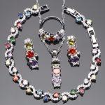 Wedding Bridal Cubic Zirconia Jewelry Sets 925 Sterling <b>Silver</b> Earrings For Women Necklace Pendant Rings <b>Bracelet</b> Set Gift Box