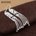 BUDONG Real 925 <b>Sterling</b> <b>Silver</b> Dangle Drop Earring for Women Luxury Flower Long Tassel Beads Hook Boho Engagement Fine <b>Jewelry</b>