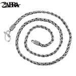 ZABRA Vintage Real 925 <b>Sterling</b> <b>Silver</b> Necklace Men 55cm Length Cross Chain Punk Retro Style Biker <b>Jewelry</b> For Mens