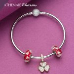 ATHENAIE 925 Sterling <b>Silver</b> Rose Gold Shamrock Hearts Pendant with Red Snowflake Glass Beads Complete <b>Bracelets</b> & Bangles