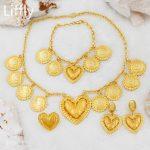 New Fashion Italian 24 Gold <b>Jewelry</b> Sets Heart Shaped Design <b>Necklace</b> Earring Bridal Wedding Charm <b>Jewelry</b> Gift Accessories