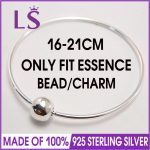 LS High Quality ESSENCE Collection 100% 925 Sterling <b>Silver</b> Bangle <b>Silver</b> Jewelry Charm <b>Bracelets</b> Women Fashion DIY Jewelry W