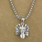 925 Sterling <b>Silver</b> Naked Angel Wing Charm Pendant 9S015A Steel <b>Necklace</b> 24″
