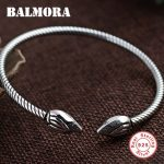 BALMORA 925 Sterling Silver <b>Jewelry</b> Vintage Lotus Open Bracelets Bangles for Women Gifts about 16cm High Quality Bijoux SZ0199