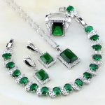 Square Shaped Green Created Emerald White CZ 925 Silver <b>Jewelry</b> Sets For Women <b>Wedding</b> Earring/Pendant/Necklace/Bracelet/Ring