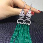 Long tassels Earring Green stone drop earring multi layers 925 <b>sterling</b> <b>silver</b> with cubic zircon fashion women <b>jewelry</b>