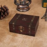 13*12*5.4CM Retro <b>Antique</b> Decorative Gift Box double belt Wood Storage Box Wooden <b>Jewelry</b> Storage Organizer Copper Nails Old Box