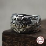 S925 pure <b>silver</b> men's ring <b>Jewelry</b> vintage brass eye gluttony opening ring Couples exclusive Gift to your lover