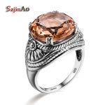 Szjinao Austrian Crystal Female Rings For Wife Vintage Brown Stone Ring Punk Solitaire Engagement 925 Sterling <b>Silver</b> <b>Jewelry</b>