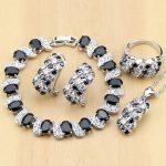 925 Sterling Silver <b>Jewelry</b> Black And White CZ <b>Jewelry</b> Sets For Women Earrings/Pendant/Rings/Bracelet/<b>Necklace</b> Set