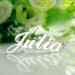 Freeshipping–Nameplate Necklace JULIA Style Silver Name Necklace Initial Necklace Personalized <b>Jewelry</b>