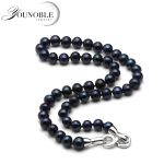 Real 8-9mm round wedding freshwater pearl <b>necklace</b> for women,mother birthday best gift black pearl choker <b>necklace</b> 925 jewelry