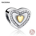 Hot Sell Genuine 925 Sterling Silver Two Color Heart-Shaped Zircon Charm Fit Original pandora Bead Bracelet DIY <b>Jewelry</b> <b>Making</b>