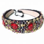 Limited Edition Luxury Baroque Crown Full Red Rhinestone Handmade Hair Bands Crystal Velvet Wide Headband Wedding Hair <b>Jewelry</b>