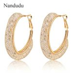 Nandudu Rose Hoop Earrings Gorgeous Wire Mesh Net Zircon Hoop Style Earring <b>Fashion</b> <b>Jewelry</b> Gift E268