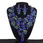 Royal Blue Statement <b>Jewelry</b> sets Women Rhinestone crystal Big Party <b>Necklace</b> earrings set Colorful Bridal Wedding <b>Jewelry</b>