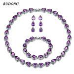 BUDONG Trendy WaterDrop Jewelry Set AAA+ Crystal <b>Silver</b> Color Necklace/Earrings/<b>Bracelet</b> for Women 5 Colors CZ Wedding XUT028