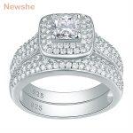 Newshe 2 Pcs <b>Wedding</b> Ring Set Classic <b>Jewelry</b> 925 Sterling Silver 2.26 Ct Princess Cut AAA CZ Engagement Rings For Women JR4230