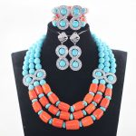 African Coral Beads Wedding Jewelry Set for Brides Blue Stones Costume Party <b>Silver</b> Necklace <b>Earrings</b> Set Free Shipping ABH533