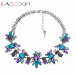 Lacoogh Luxury Shiny Purple Blue Crystal Flower Bib Statement Necklace Fashion Party Necklace <b>Jewelry</b> Women <b>Accessories</b> collares