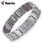 Rainso Men <b>Jewelry</b> Healing magnetic Bangle Balance Health Bracelet Silver Titanium Bracelets Special Design for Male