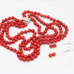 3 rows <b>necklace</b> dangle earrings 7mm natural red coral round beads <b>jewelry</b> set for women weddings gifts Jewellery 17-19″ B3455