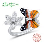 SANTUZZA Silver Ring For Women 925 Sterling Silver Enamel Butterfly Flower Rings Cubic Zirconia Ringen Party Fashion <b>Jewelry</b>