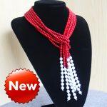 New Fashion 5mm Natural Red Corel&Shell Necklace women girls gift beads Round Stones 3pcs <b>Jewelry</b> <b>making</b> design 50inch wholesale