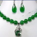 Prett Lovely Women's Wedding Fashion <b>Jewelry</b> beautiful 10mm green gem earring dragon pendant Necklace set 5.23 silver-<b>jewelry</b>