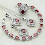 925 Sterling <b>Silver</b> Jewelry Red Cubic Zirconia White CZ Bridal Jewelry Sets For Women Earrings/Pendant/Necklace/<b>Bracelet</b>/Ring