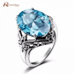 New Elegant <b>Handmade</b> Real London Blue Stone Crystal Ring Women 925 Sterling Silver Ring Butterfly Body <b>Jewelry</b> Vintage Style