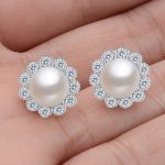 BELLA Fashion 925 Sterling Silver Flower Bridal Earrings 8mm Freshwater Cultured Pearl Stud Earrings For <b>Wedding</b> Party <b>Jewelry</b>