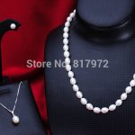 Woman Gift Top Real Pearl 9-10mm AAA Natural Real Pearl <b>Handmade</b> Pendant Necklace Earring Set Woman <b>Jewelry</b> Freshwater Pearl