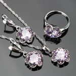 2018 New Round Purple Zircon Silver 925 Costume Bridal <b>Jewelry</b> Sets Pendant Necklace Chain Rings Earrings Set Jewellery Gift Box